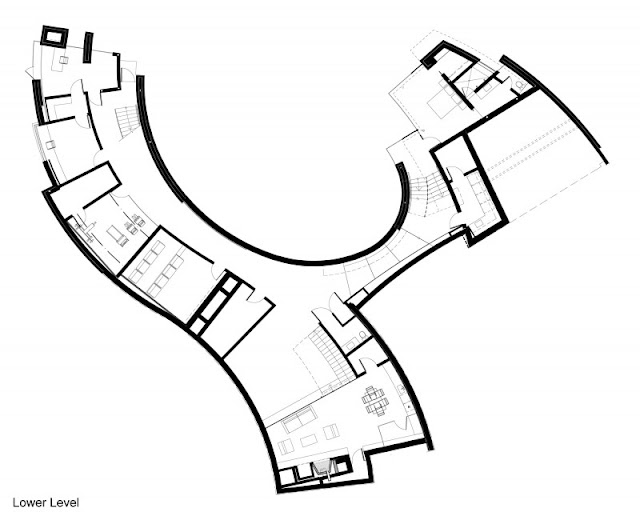 Lower level floor plan of the otter cove residence