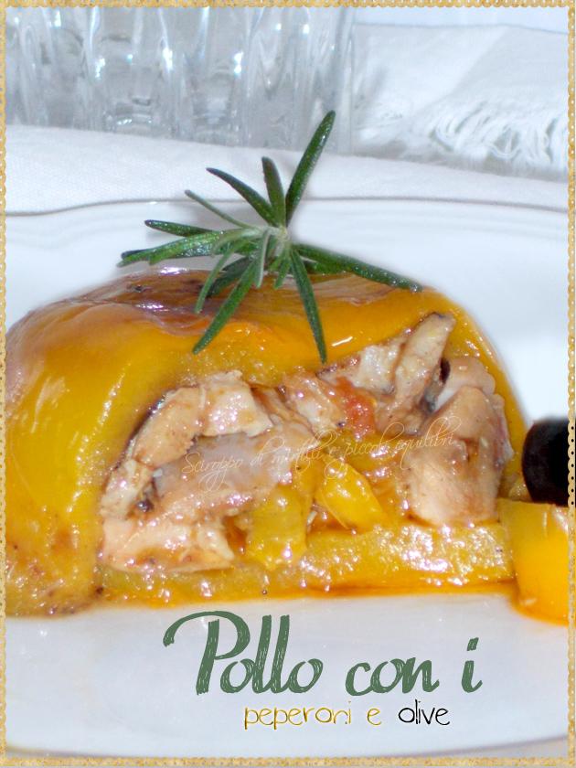 Pollo con olive rivestito di peperoni gialli