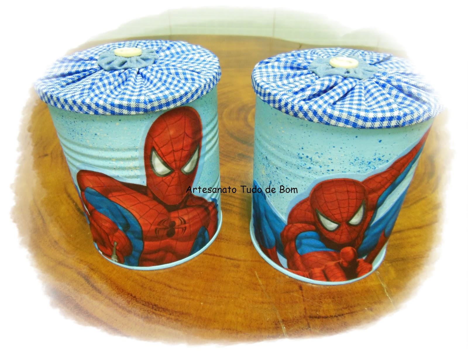 Adesivo Mandala Grande ~ Le e Li Artesanato Reciclagem com lata de leite em pó Decoraç u00e3o Homem Aranha