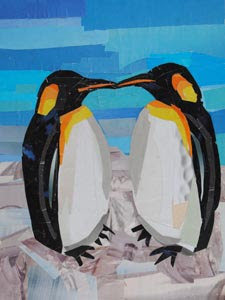 When Penguins Find Love by collage artist Megan Coyle
