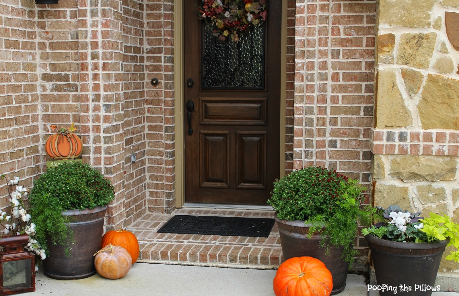 fall planters, pumpkins, cotton, lanterns, fall wreath