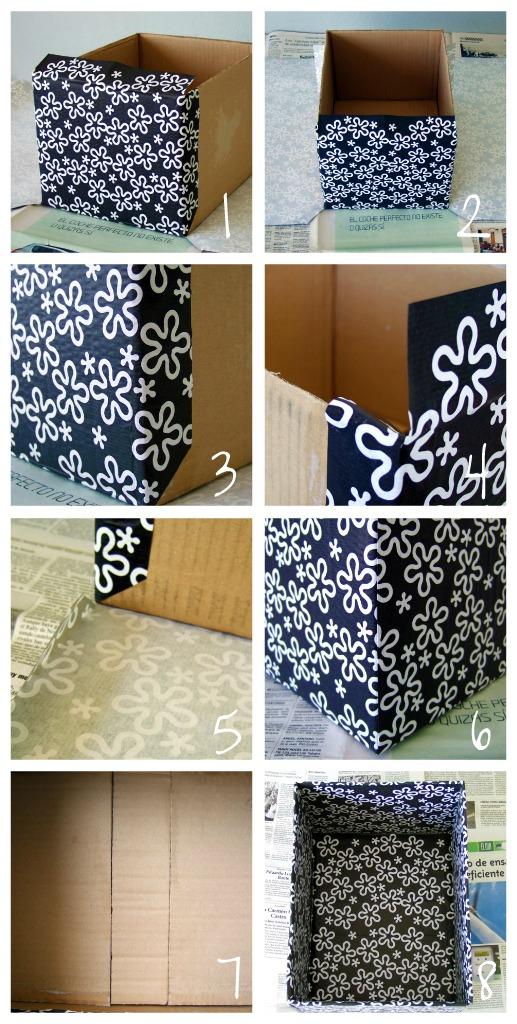 Plata y chocolate c mo forrar con papel una caja de cart n - Como forrar un armario con tela ...