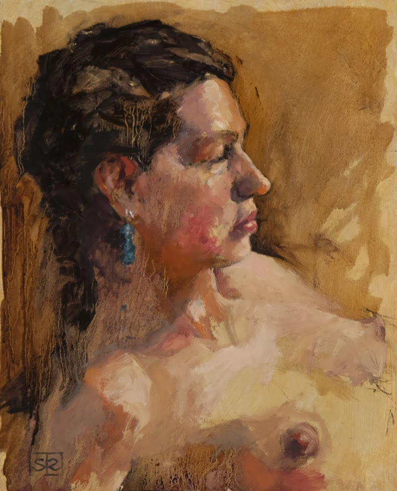 Robin, oil on paper, three-hour life study, by Shannon Reynolds