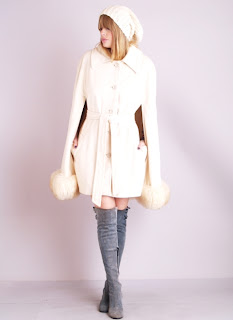 Vintage 1960's white shearling belted cape coat