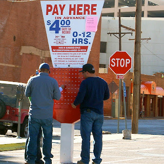 U.S. Parking lot pay box on San Antonio Street, El Paso TX