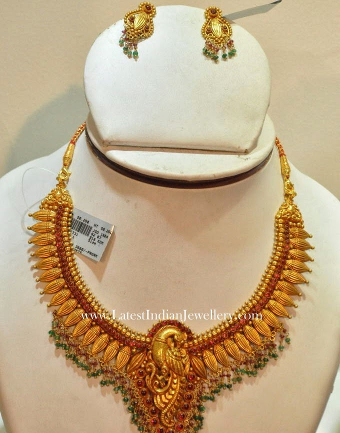 Peacock Design Antique Gold Necklace