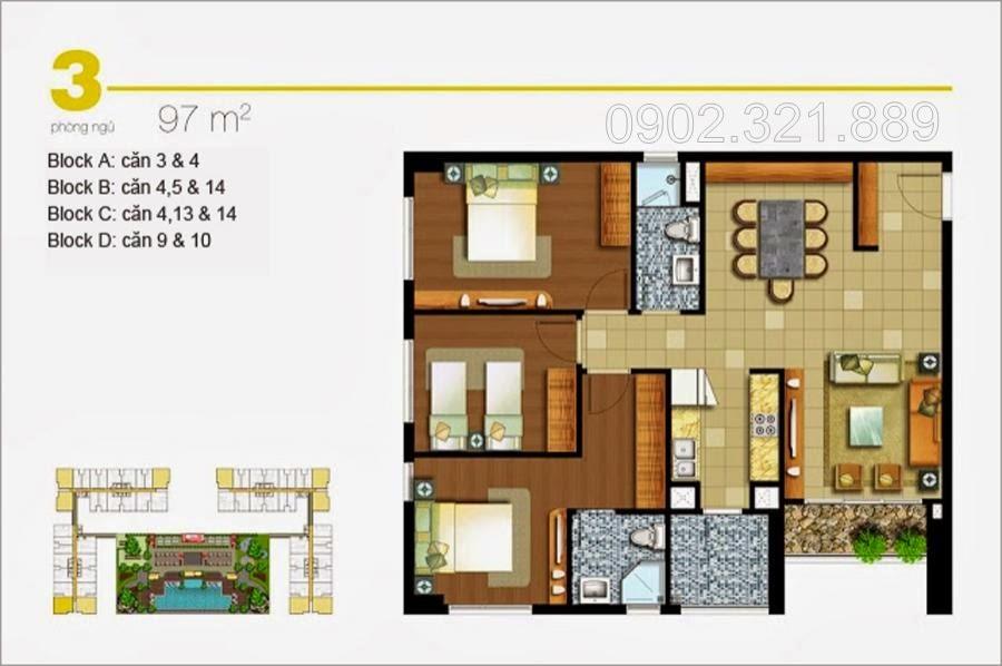 Căn hộ Lexington 3 phòng ngủ 92m2