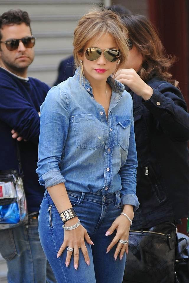 Jennifer Lopez in Denim Blue while filming in the Bronx