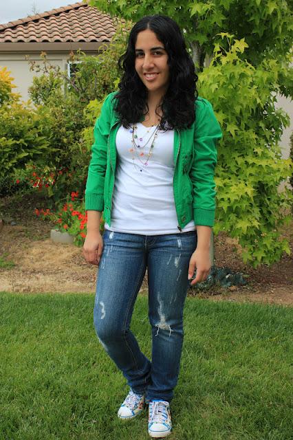 Green Jacket and Destroyed Denim Jeans