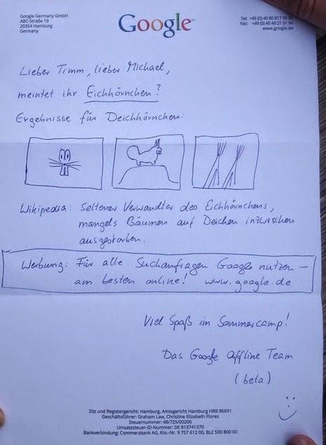 resposta carta google para michael wiethe e timm equipe offline