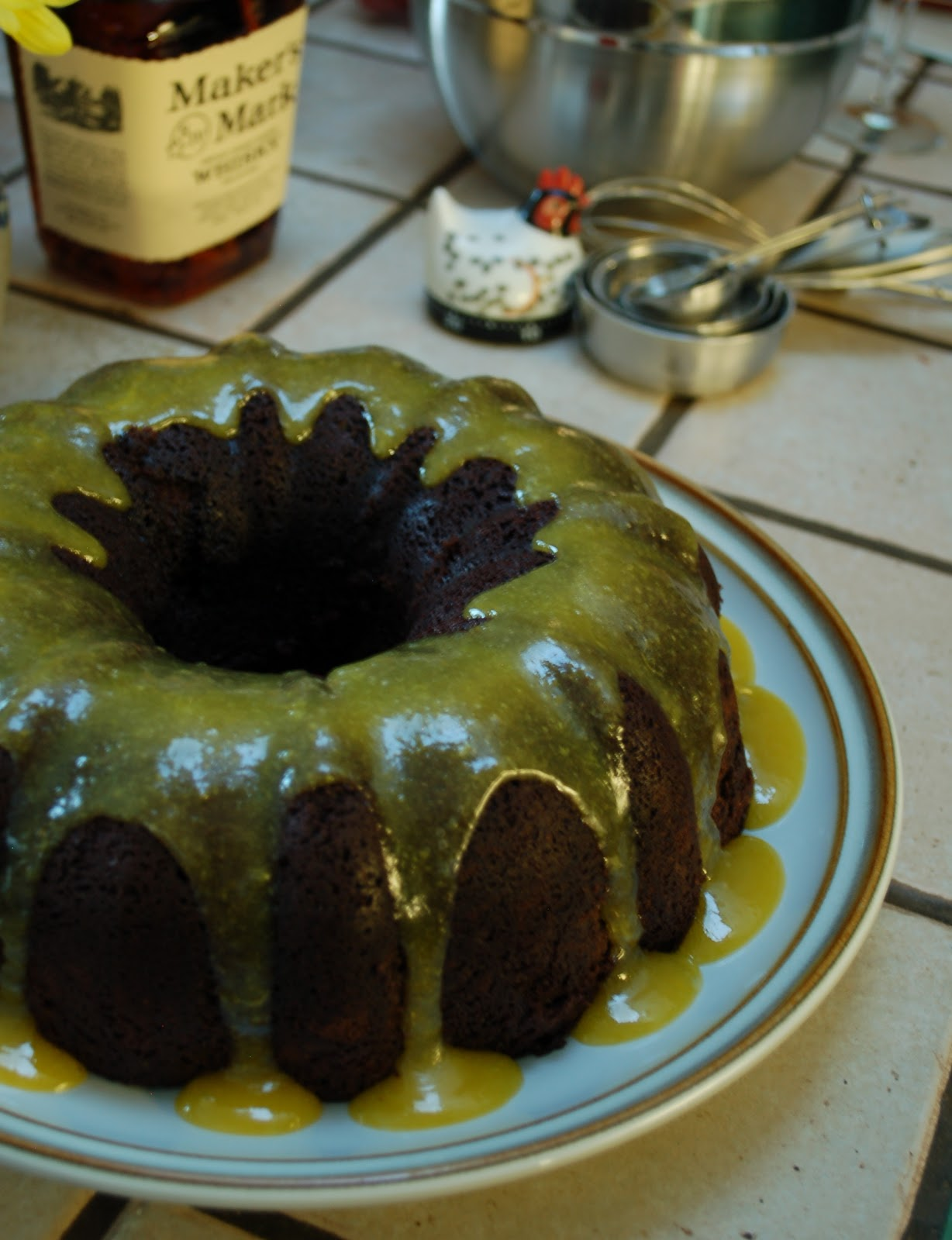 The Spice Garden: Bourbon-Chocolate Bundt Cake with Hard Sauce Glaze