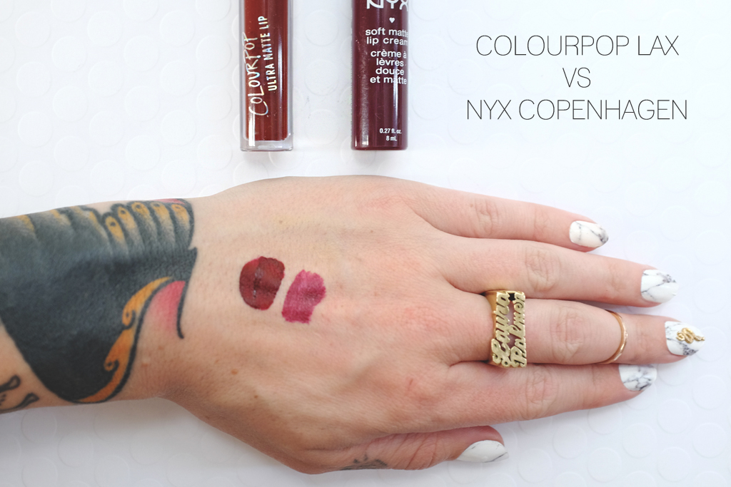 ColourPop Cosmetics Ultra Matte Lip LAX versus NYX Copenhagen - Mini Penny Blog