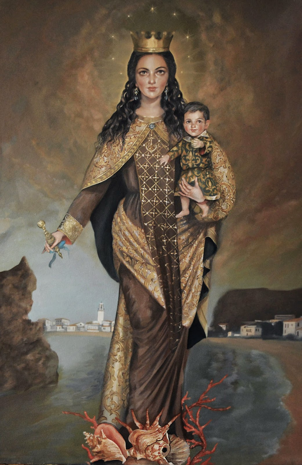Resultado de imagen de pinturas de la virgen del Carmen