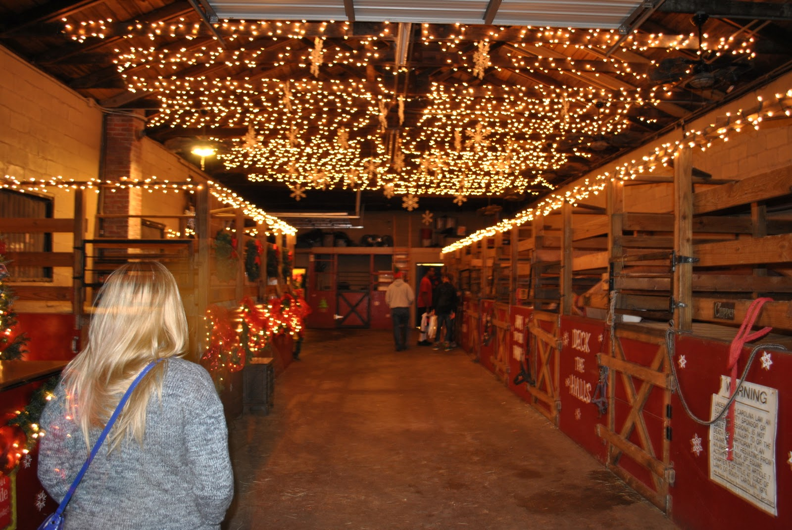 horse stable one of the only places with christmas lights