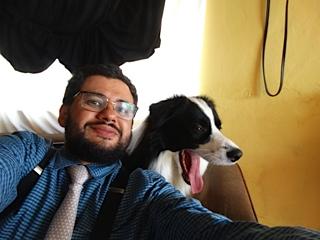 Prof. Cídio e seu Cão Miguelito