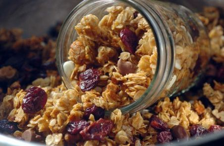 Almond granola with dried cherries and (optional) white chocolate ...