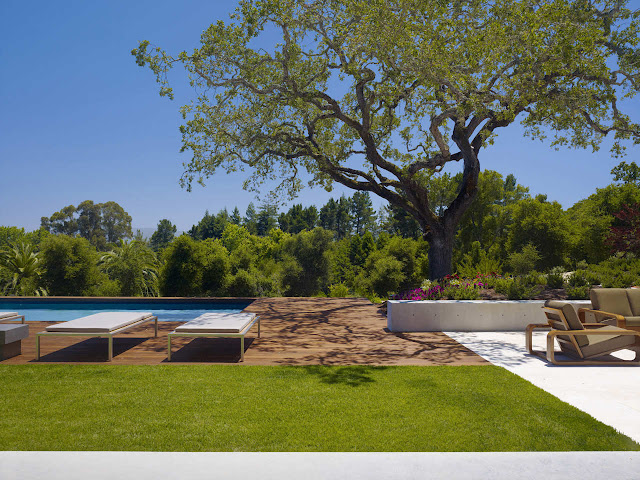 Terrace and large swimming pool in the backyard of modern Oz House in Silicon Valley