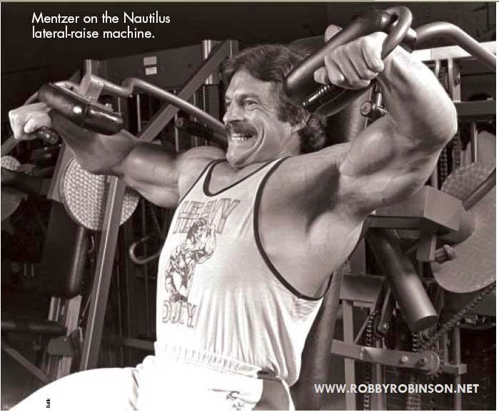 MIKE MENTZER - HEAVY DUTY WORKOUT  ON LATERAL RAISE NAUTILUS MACHINE ● www.robbyrobinson.net//anabolic-pack.php ●