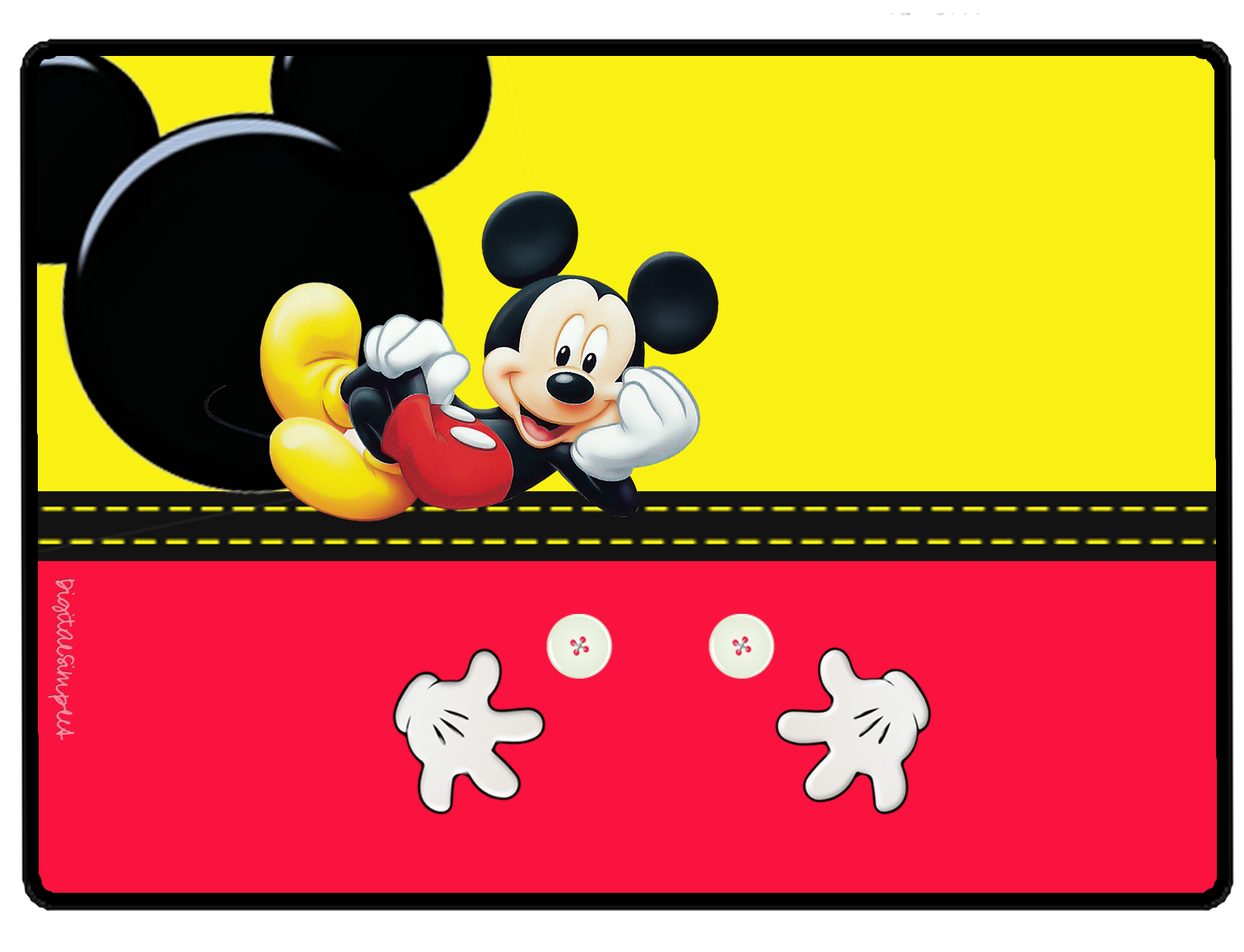 Mickey in Yellow and Red Free Printable Party Kit. | Is it ...