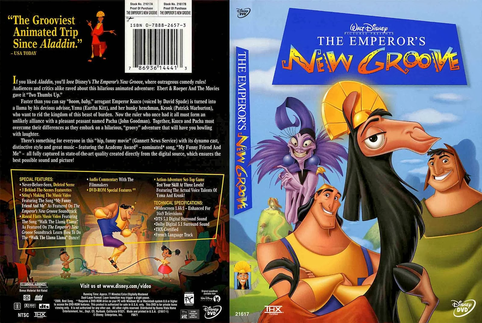 The Emperor's New Groove dvd cover animatedfilmreviews.filminspector.com