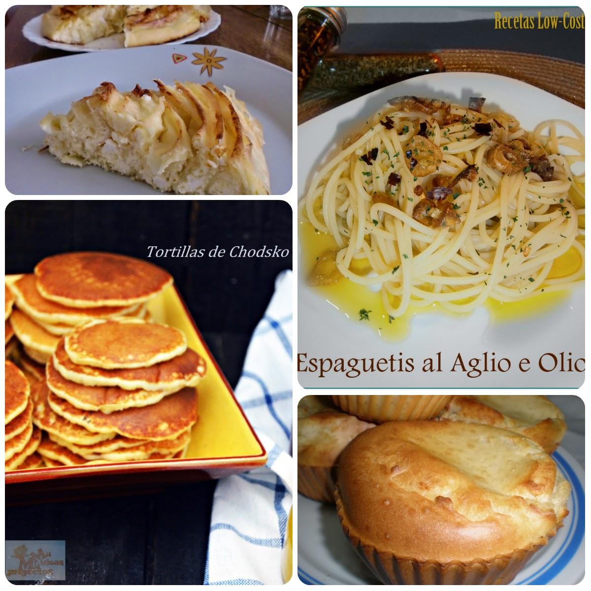 Platos que componen el noveno menú vegetariano con recetas de otros blogs.