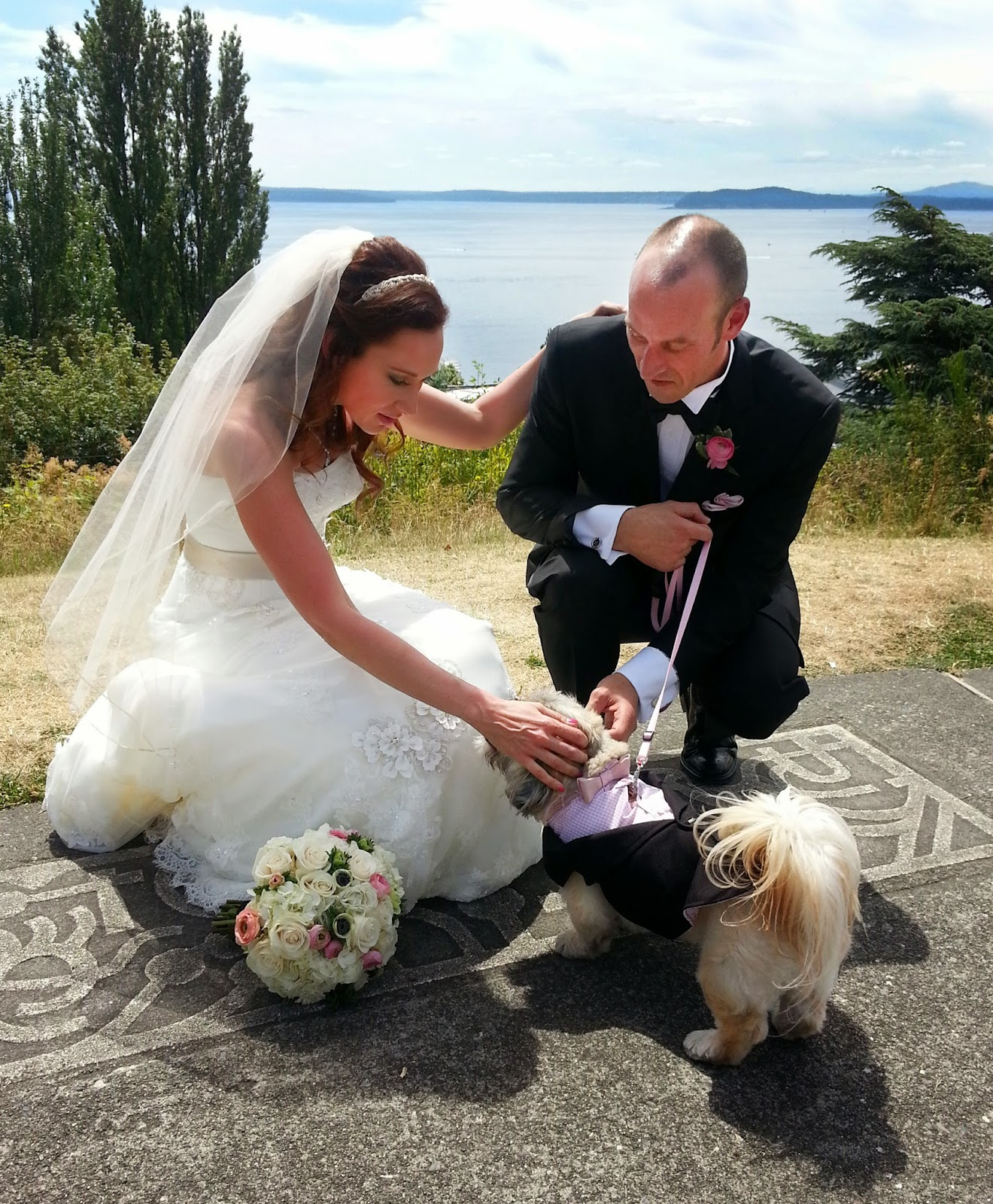 Elisha and Anthony with their dog, Chewie, after their wedding ceremony - Patricia Stimac, Seattle Wedding Officiant