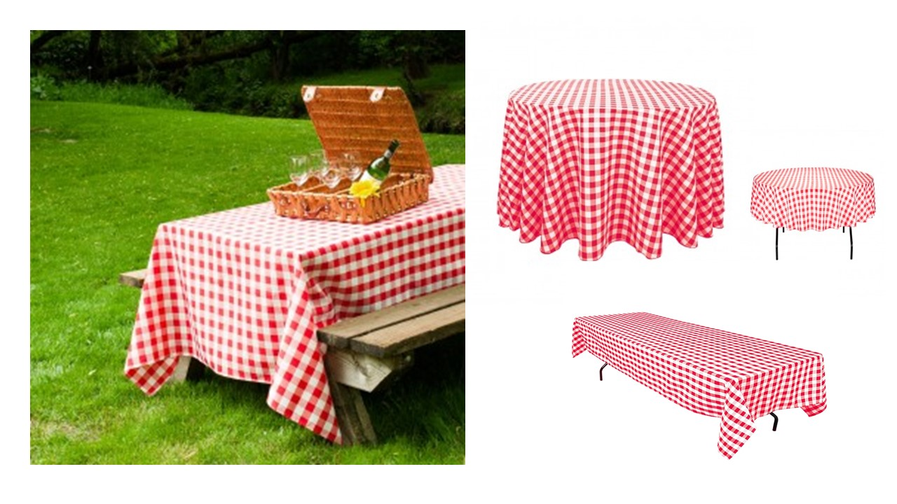 TABLECLOTH RENTAL  RED AND WHITE CHECKERED