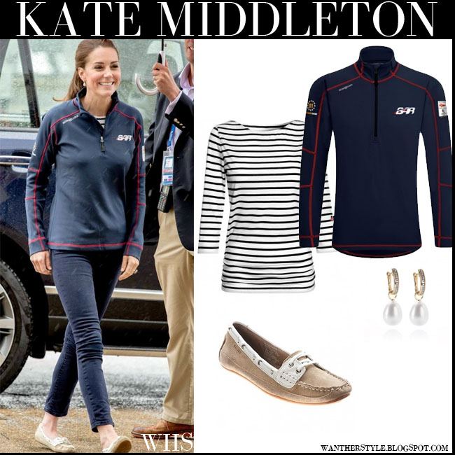 Kate Middleton in blue racing Henri Lloyd pullover, striped me + em breton top, blue skinny jeans with beige suede sebago boat shoes what she wore july 26