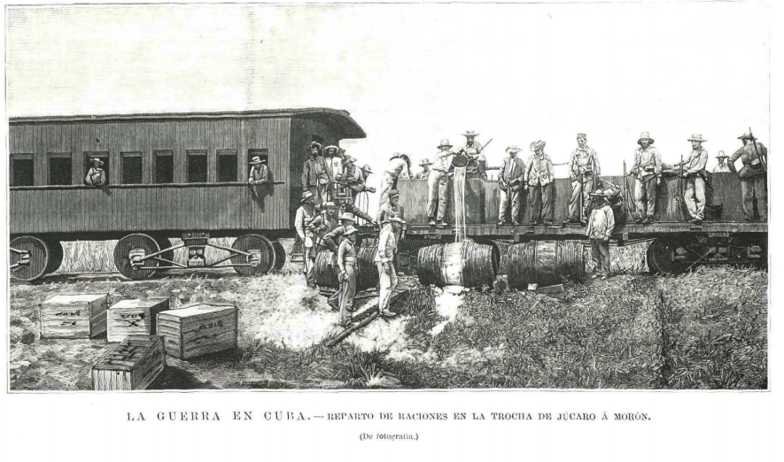 reabastecimiento de tropas en Cuba por línea férrea