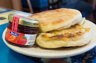 Homemade Toasted English Muffin, Strawberry Jam