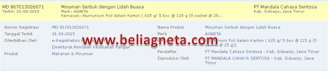 BPOM dan Sertifikat Halal MUI Agneta Aloevera