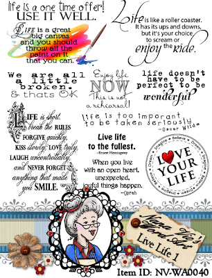 Live Life word art, sentiment, digital stamps