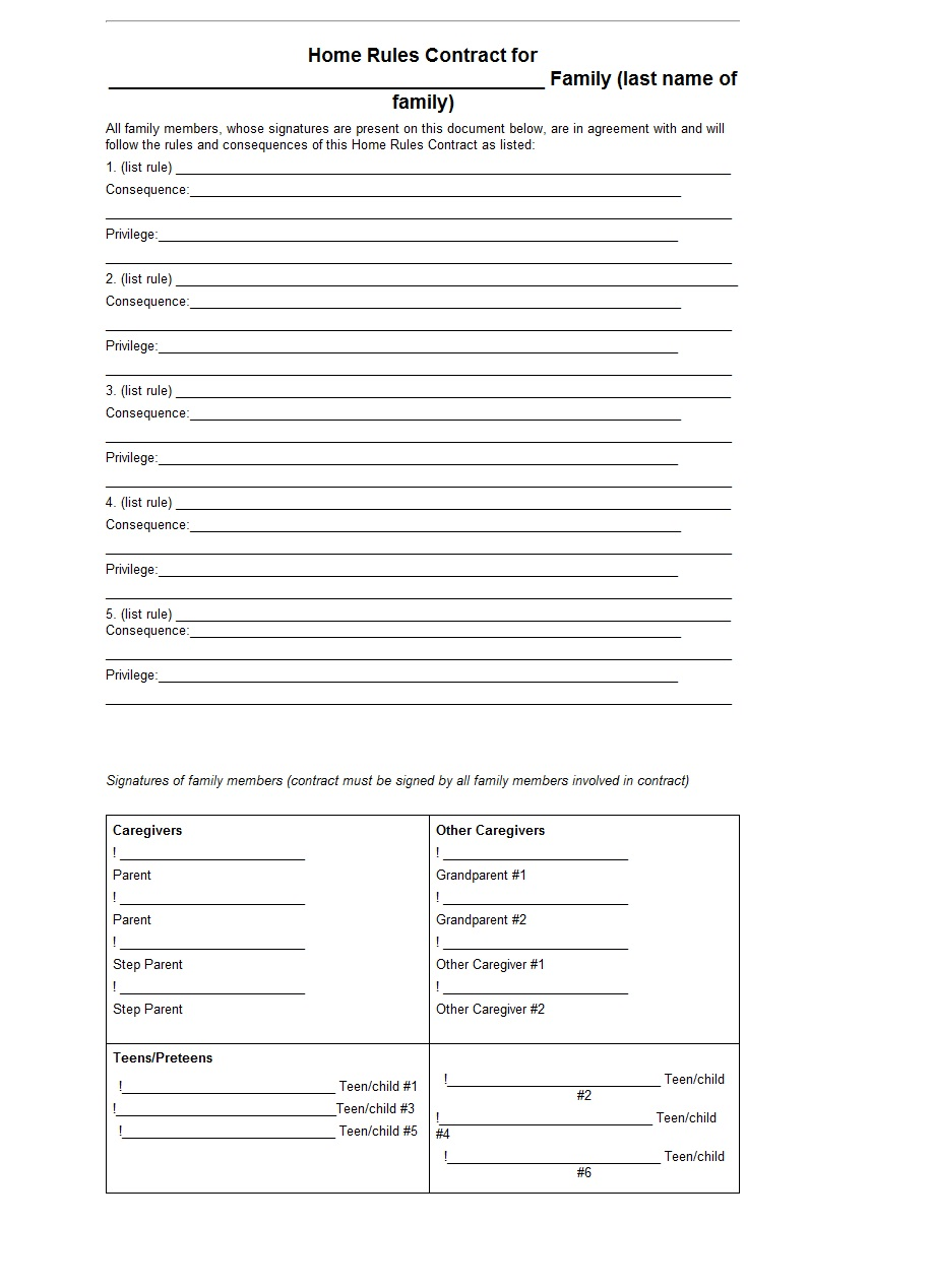 Home Rules Contract Word Template Template Sample