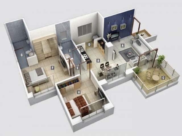 denah rumah minimalis apartemen 2 kamar tidur design
