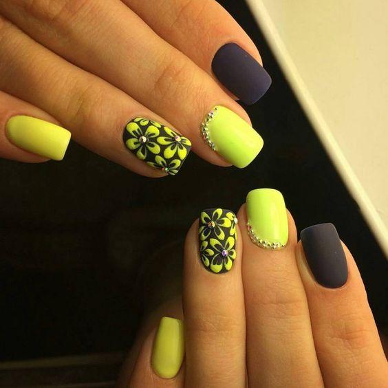 Фото ногти черные с желтым