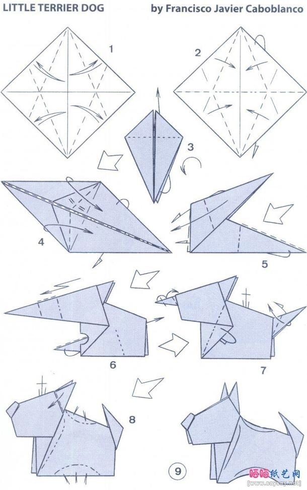 Origami instruction terrier dog origami web wanderers - Origami origami origami ...