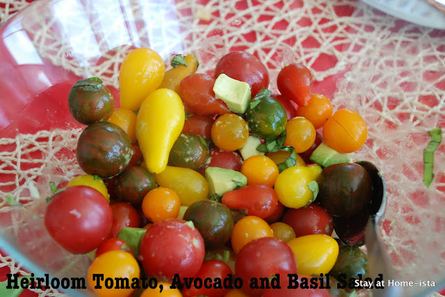 heirloom tomato, avocado and basil salad