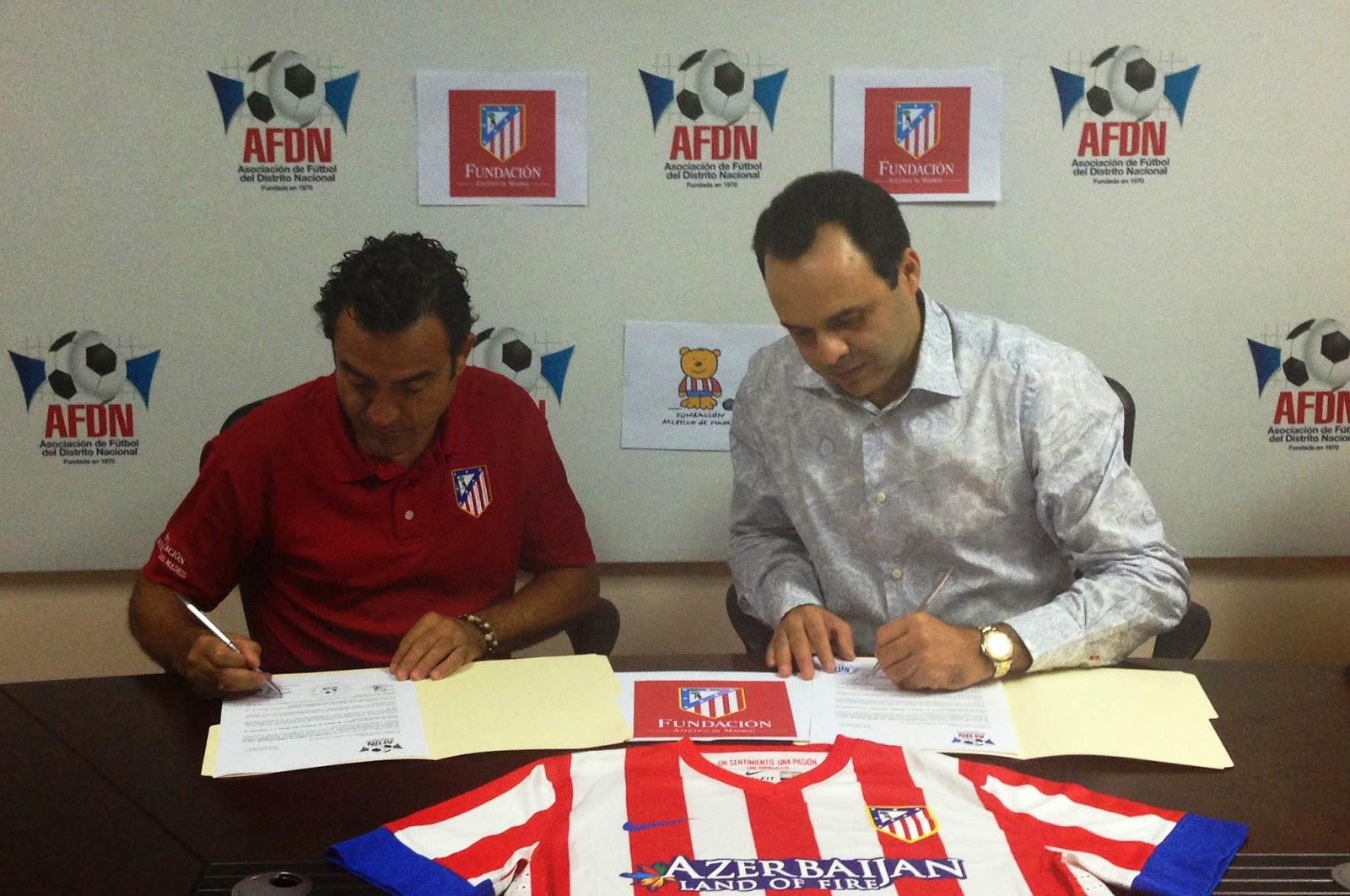 Asociación del DN y Fundación Atlético de Madrid firman acuerdo institucional para desarrollar fútbol