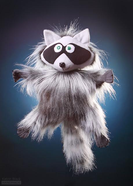 Енотик - авторская мягкая игрушка из меха ручной работы от Katrin Black