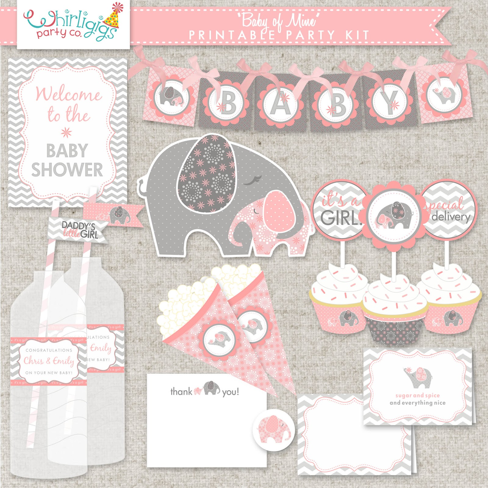 Elephant Baby Shower Decoration 1600 x 1600