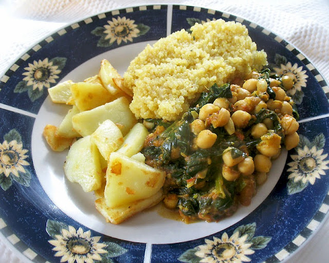 spicy chickpeas with spinach served up for dinner