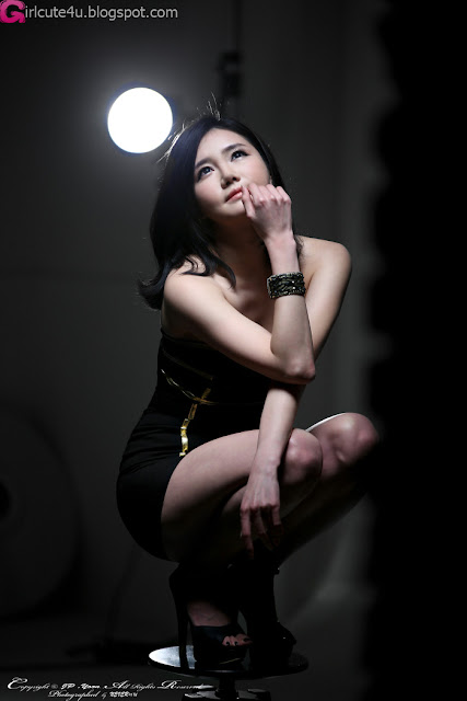 4 Han Ga Eun in Black Mini Dress - very cute asian girl - girlcute4u.blogspot.com