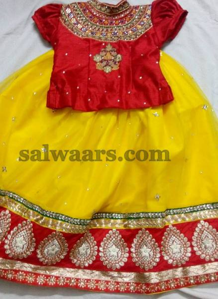 Yellow Lehenga Red Ruffled Blouse