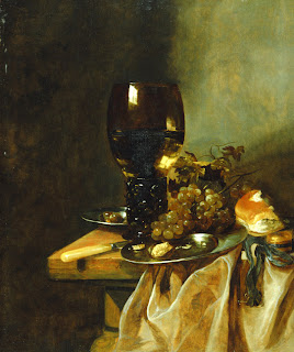 Abraham van Beyeren, A Roemer with Grapes, a Pewter Plate and a Roll, 1600s