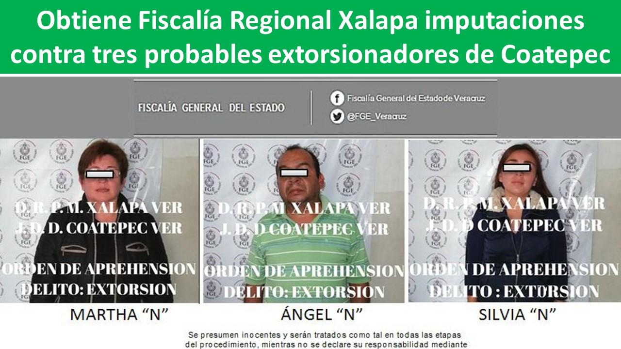 contra tres probables extorsionadores de Coatepec