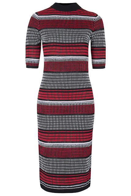 topshop red black dress, striped stretch dress,