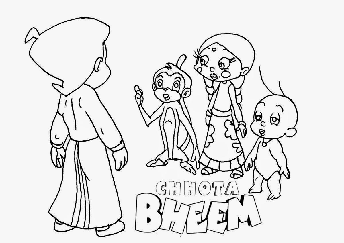 Pogo Cartoon Chota Bheem Coloring Drawing Free wallpaper