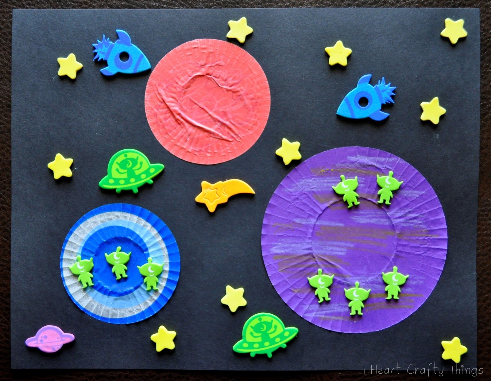 Cupcake liner foam sticker space craft i heart crafty for Outer space project