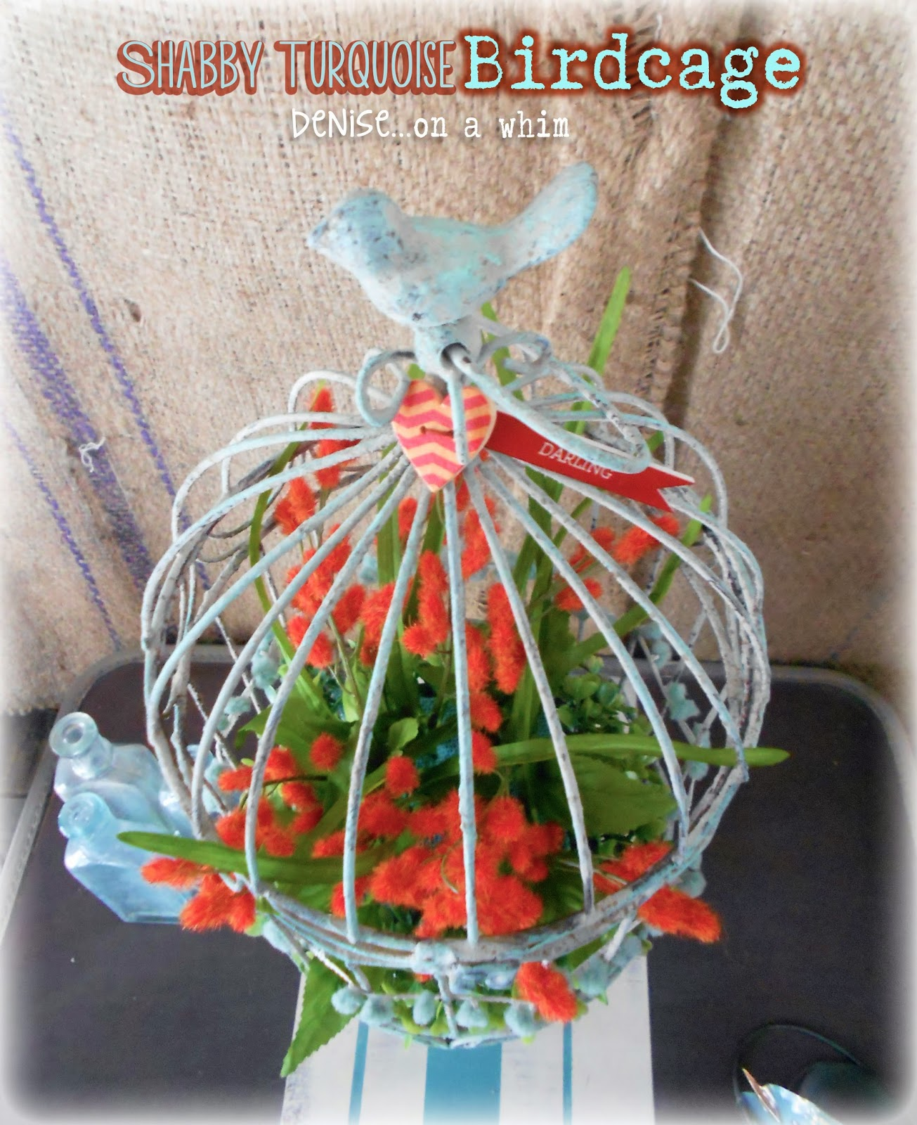 Pretty Floral Birdcage via http://deniseonawhim.blogspot.com