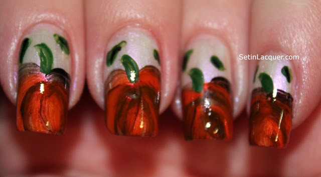 Attempt at one-stroke pumpkin nail art